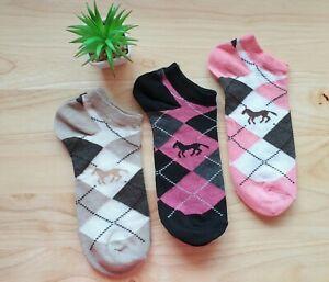 Ladies Womens Trainer Socks Cotton Rich Argyle Horse Design 3 Pack size 4-7 Pink