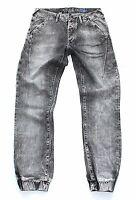 Grey RIVER ISLAND CARROT Button Fly Faded Distressed Men's Jeans size W 32 L 32