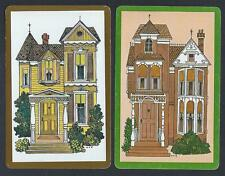 #930.706 vintage swap card -NEAR MINT pair- Victorian Houses
