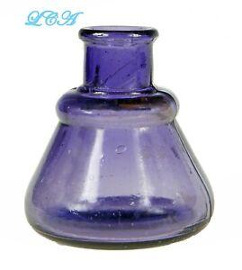 Nice BIXBY translucent PURPLE color CONE INK well antique BLOWN GLASS bim bottle