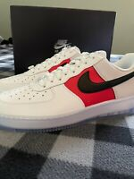 Nike Air Force 1 07 LV8 EMB White Black Red Men's Size 10.5 Shoes CT2295-110