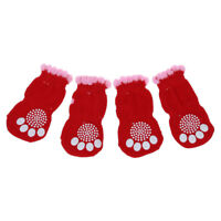 1X(2 Pairs Size L Antislip Bottom Pet Dog Doggie Puppy Socks Red Pink E4L3)