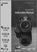 Canon VIXIA HF R50, R52, R500 Camcorder User Instruction Guide  Manual