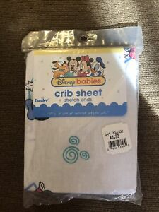 Vintage Dundee Disney Baby Mickey & Friends Crib Fitted Sheet Minnie 28x52 NEW