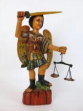 "Carved Wood St. Saint Michael Over the Devil Guatemalan Santo Statue 15.5"" (#2)"