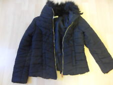 H&M Black Padded Jacket With Faux Fur Collar Age 10-11
