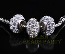 14X9mm 5pcs Opal Porcelain Polymer Clay Rondelle Rhinestone Loose Spacer Beads