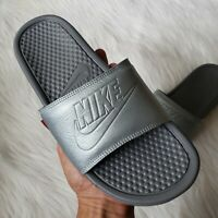 Nike Benassi JDI BP Slide Sandals in Metallic Silver Womens Size 10