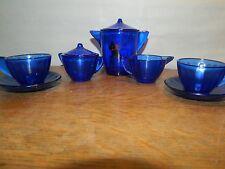 Lovely 9 Piece Cobalt Blue Retro Glass Children's Child Tea Coffee Set Art Deco