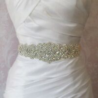 Handmade Bridal Sash Crystal Rhinestone Belt Wedding Dress Sash with White Sash
