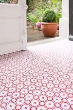 Red/White Vinyl Floor Tiles - RDV Red - £19.99 per M2. Retro funky pattern