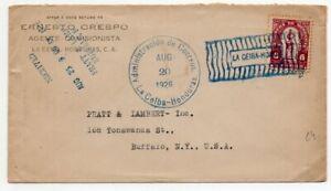 1926 HONDURAS TO USA EARLY FLIGHT COVER, LA CEIBA COLOR RARE CANCEL !!
