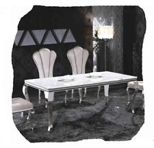 Elegant 1800 White Faux Granite and Polished Stainless Steel Dining Table