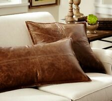 Handmade Lambskin Leather Pillow Cushion Cover Home Sofa Distressed Brown Square