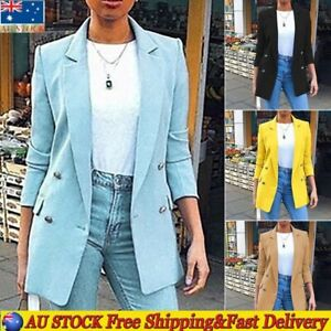 Ladies Long Sleeve Slim Fit Blazer Jacket Formal Work Suit Office Coat Outwear