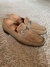 Savatore Ferragamo Bit Loafers Shoes Camel Tan Suede 12 D