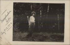 Man Holding Old Boat Oar Messalonskee Lake ME 1906 Real Photo Postcard