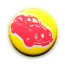 Badge RETRO COX CAR ROSE fond JAUNE acidulé coccinelle wv culte pop pin Ø25mm
