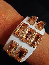Alexis Bittar Liquid Gold And White Citrine Baguette Hinged Enamel Bracelet
