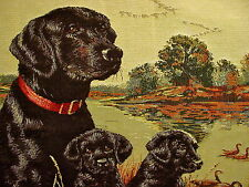Black Labrador Dog & Puppies Tapestry Pillow Cover