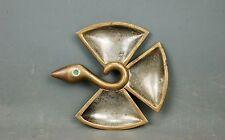 vintage Modernist Brass Copper Silver Bird Tray Dish Los Castillo Taxco Mexico