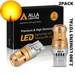 LED Yellow 7443 Front Turn Signal Bulbs for Toyota,Heavy Duty Aluminum Heat Sink