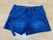 Ladies size 14P DANNII MINOGUE Petites BLUE denim Utility Shorts belt  14 P NEW