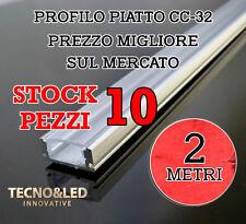 STOCK 10 PROFILO ALLUMINIO PIATTO LED STRISCIA CANALINA 2 METRI