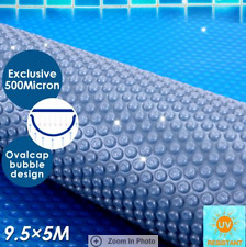 500 Micron Solar Swimming Pool Cover Oval Bubble Blanket 9.5M x 5M Blue/Silver
