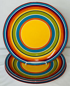 """3 Pier 1 IMPORTS SUMMER STRIPES 8 3/4"""" LUNCHEON PLATES"""
