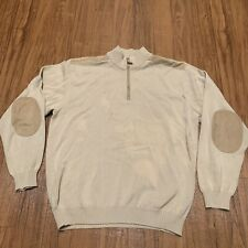 Paul & Shark Mens Yachting Large Beige 1/4 Zip Cotton Sweater Made In Italy