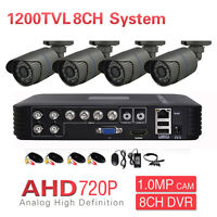 8CH DVR CCTV Surveillance Outdoor 720P 1200TVL IR 4CH AHD Security Camera System
