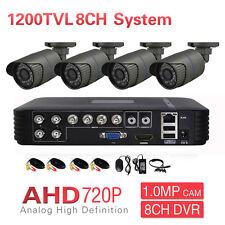 8CH DVR CCTV Surveillance Outdoor 720P 1200TVL IR 4CH AHD Security Camera System