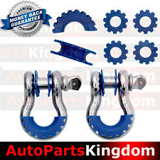 """1 Pair 3/4"""" Silver 4.75 ton D-ring Shackle+Blue Isolator Washers Silencer Clevis"""