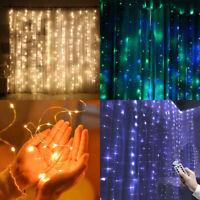 300 Guirnalda Luces LED Cortina Cascada Ventana Noche Luz Árbol de Navidad Decor