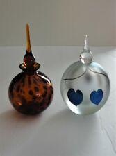 2 Art Glass Perfume Bottles 1996 Eickholt Hanging Heart Brown Tiger Eye Teardrop