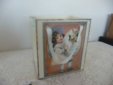 VINTAGE VICTORIAN EASTER PAPER MACHE BOX WITH BLUE RIBBON FOR HANDLE /BASKET