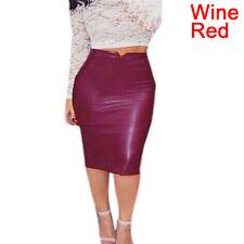 Women Sexy Soft PU Leather Skirt High Waist Slim Hip Pencil Skirts Mini Skirev S