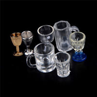 Hot 1:12 Dollhouse Miniature Kitchen Glass Beer Wine Cup Drink Bottles Deco 3C