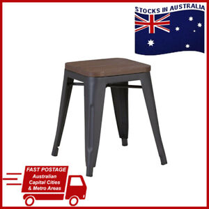 Tolix Bar Cafe Dining Stool Chairs Kitchen Metal Wood Chair Seat Stools 45cm AUS