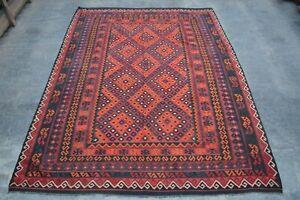 F3006 Vintage Handmade Afghan Tribal Wool Kelim Ghallmori Area Rug 8x11 Feet