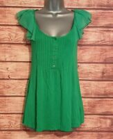 WALLIS Size 10 Summer Top GREEN Frilled Stretch VGC Women's Ladies Holiday