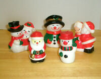 Lot 5 Vintage Assorted Holiday Figural Candles Santa Mrs. Claus Snowman Unused