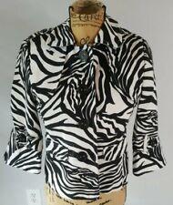 Rafaella Womens S Black/White Zebra Print 4 Button Short Jacket Collared