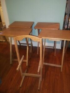 (Set of 4) Vintage Solid Wood Folding TV Trays, Tables w/ Stand. Oak?