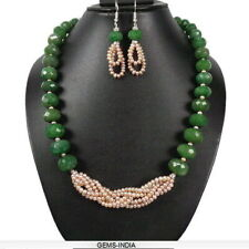 668+ Ct Natural Emerald Pearl Braided Handmade Designer Necklace W/ Ear-hangings