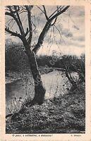 Cartolina - Postcard - alberi e ruscello - poesia T. Praga - 1940