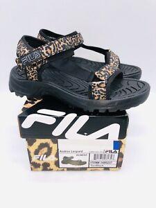 Fila Women's Andros Strap Sandals Black / Leopard - choose size
