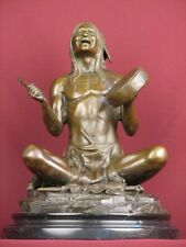 BRONZE STATUE NATIVE AMERICAN INDIAN HIGHLY DETAILED HANDCRAFTED SCULPTURE