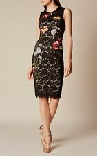 NWT S XS 42 KAREN MILLEN LACE EMBROIDERED PENCIL DRESS KNEE BLACK MULTI